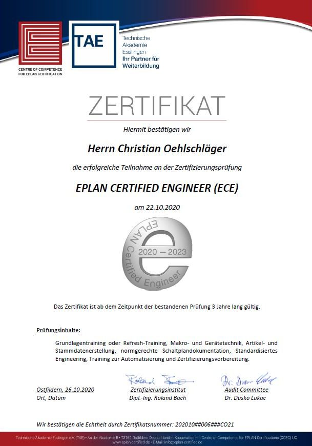 Eplan Certified Engineer Zertifikat