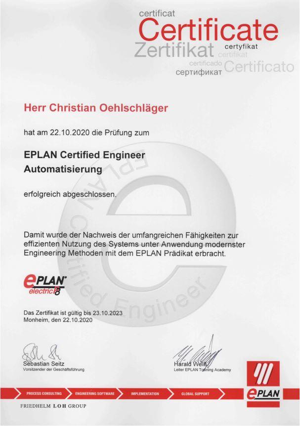 Eplan Certified Engineer Automatisierung