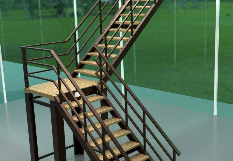 Escalera marrón giro 90