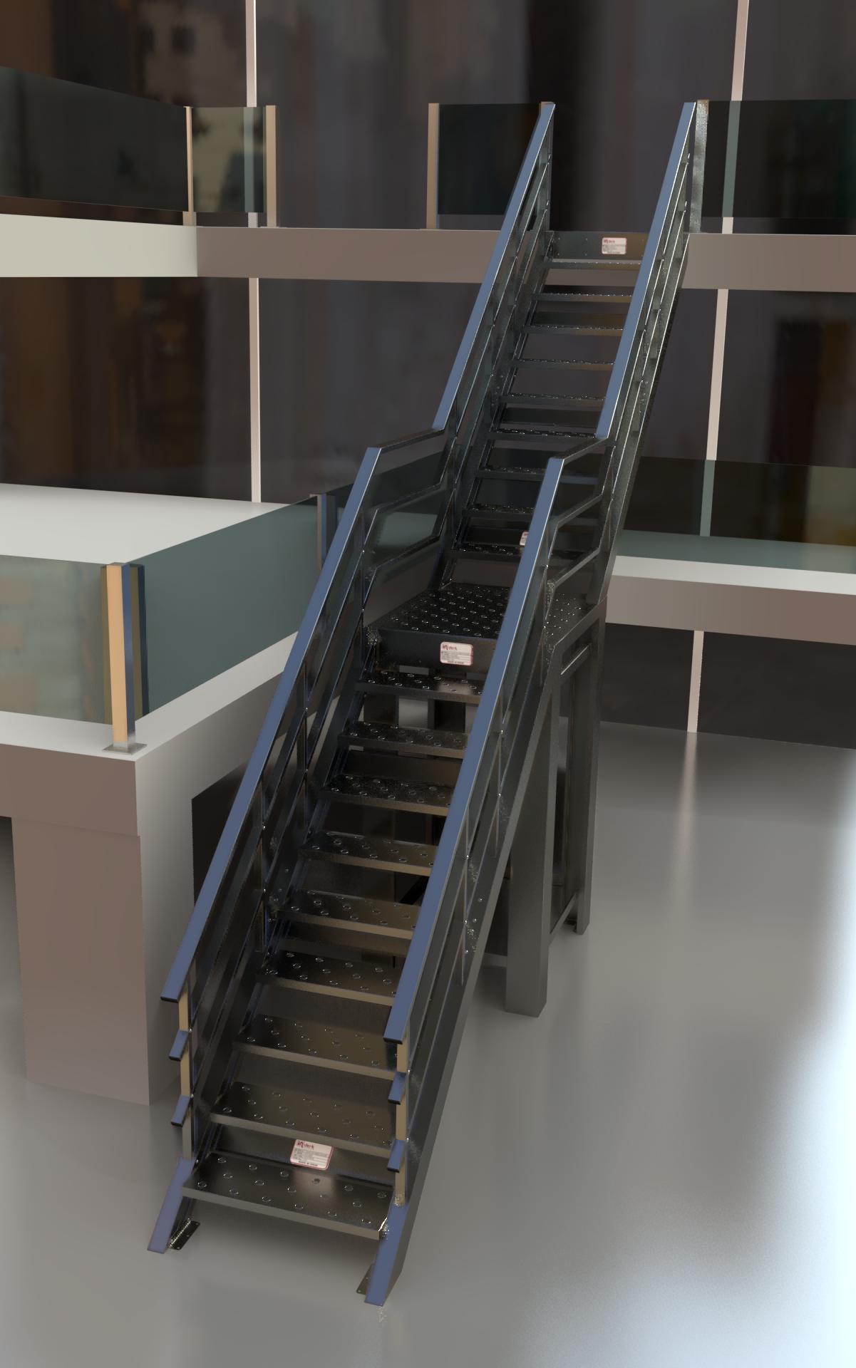 Escalera recta negra gris con descanso