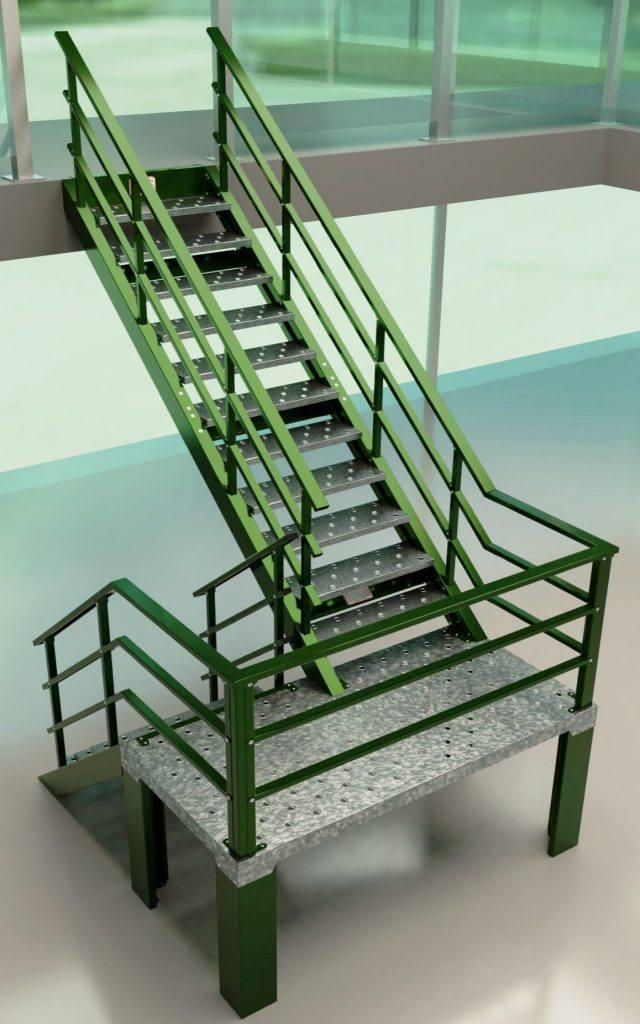 Escalera 180º con giro Izquierda color verde