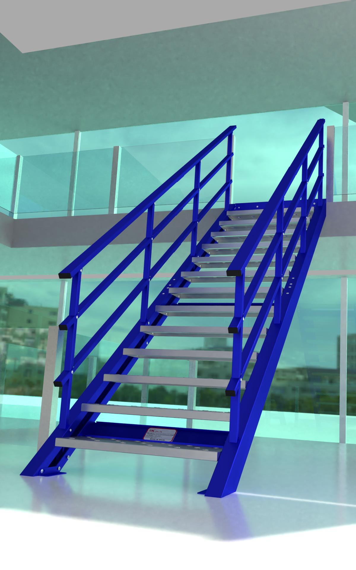 Escalera recta azul