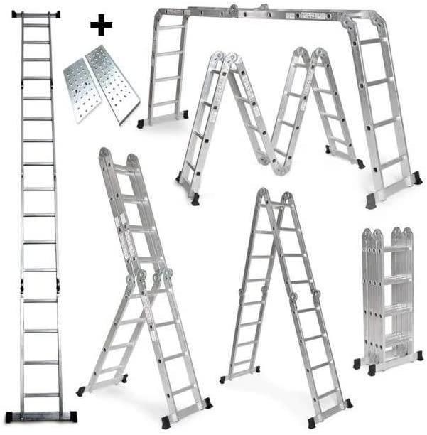 Escalera plegable 6 en 1. Recta, con andamio, en tijera, doble. Aluminio