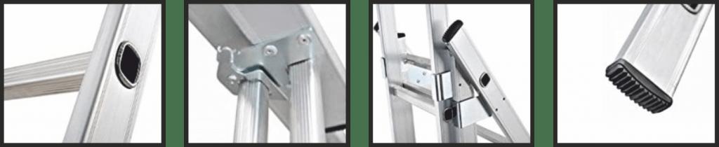 Detalle de la escala metalica de triple tijera con tramo extensible