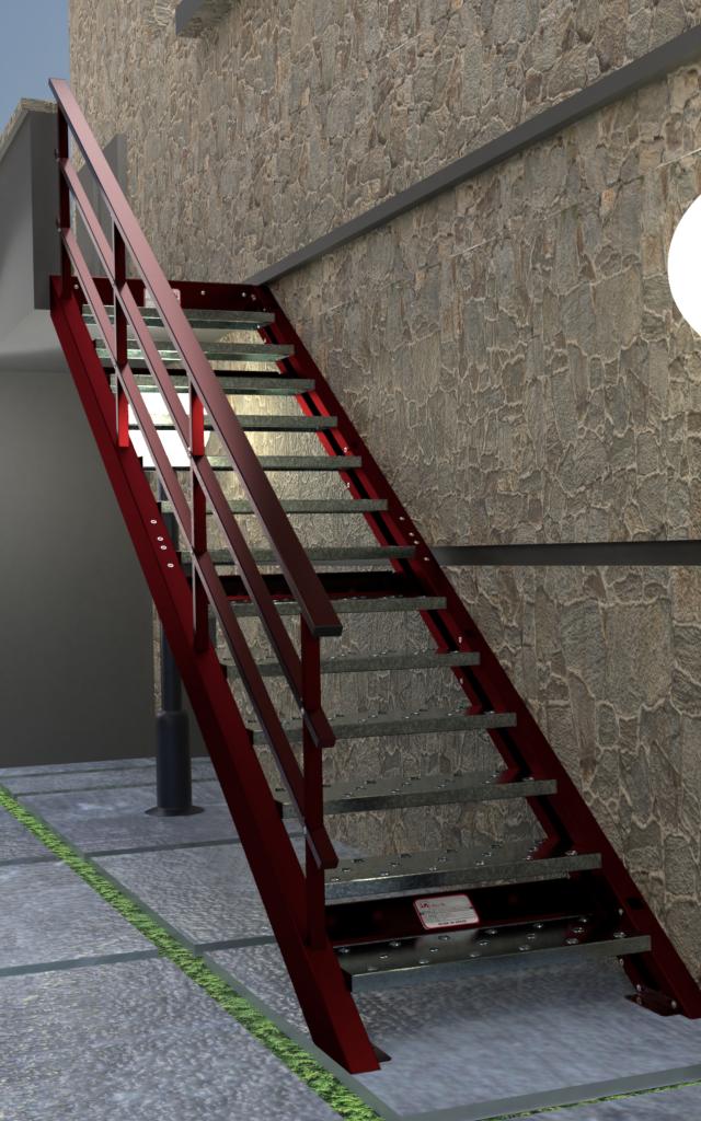 Escalera con plataforma superior