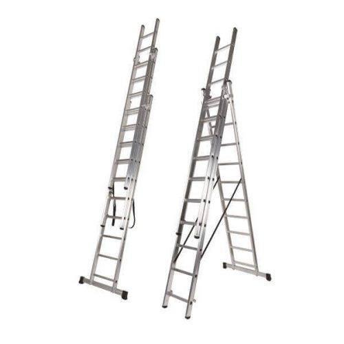 Escalera de aluminio de tres tramos en tijera de marca Nawa
