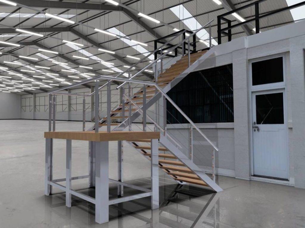 Escalera fabricada en acero inox con giro derecha