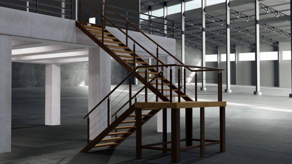 Escalera 180 marron de metal y madera