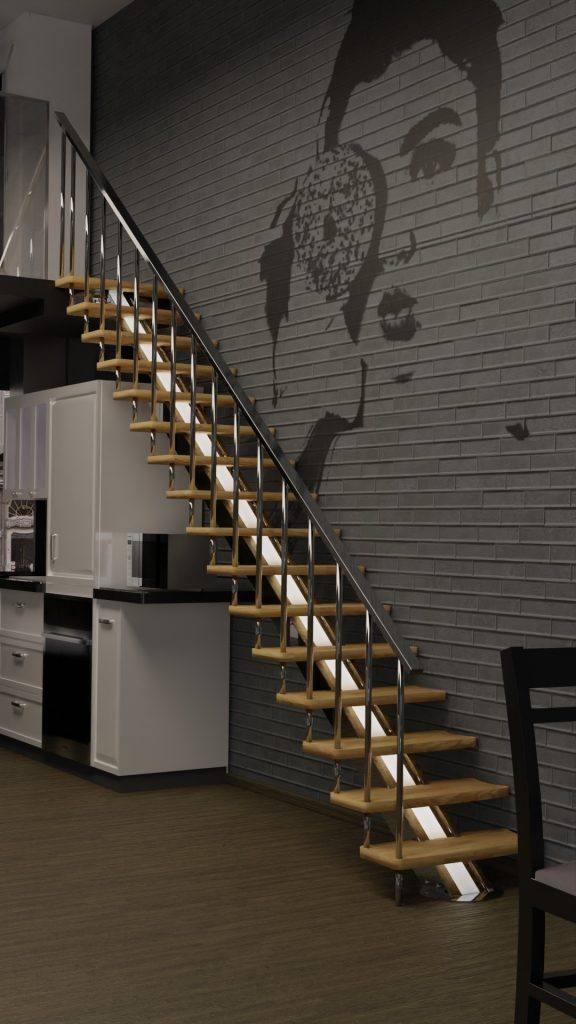 Escalera de interior de pared kit inox y madera