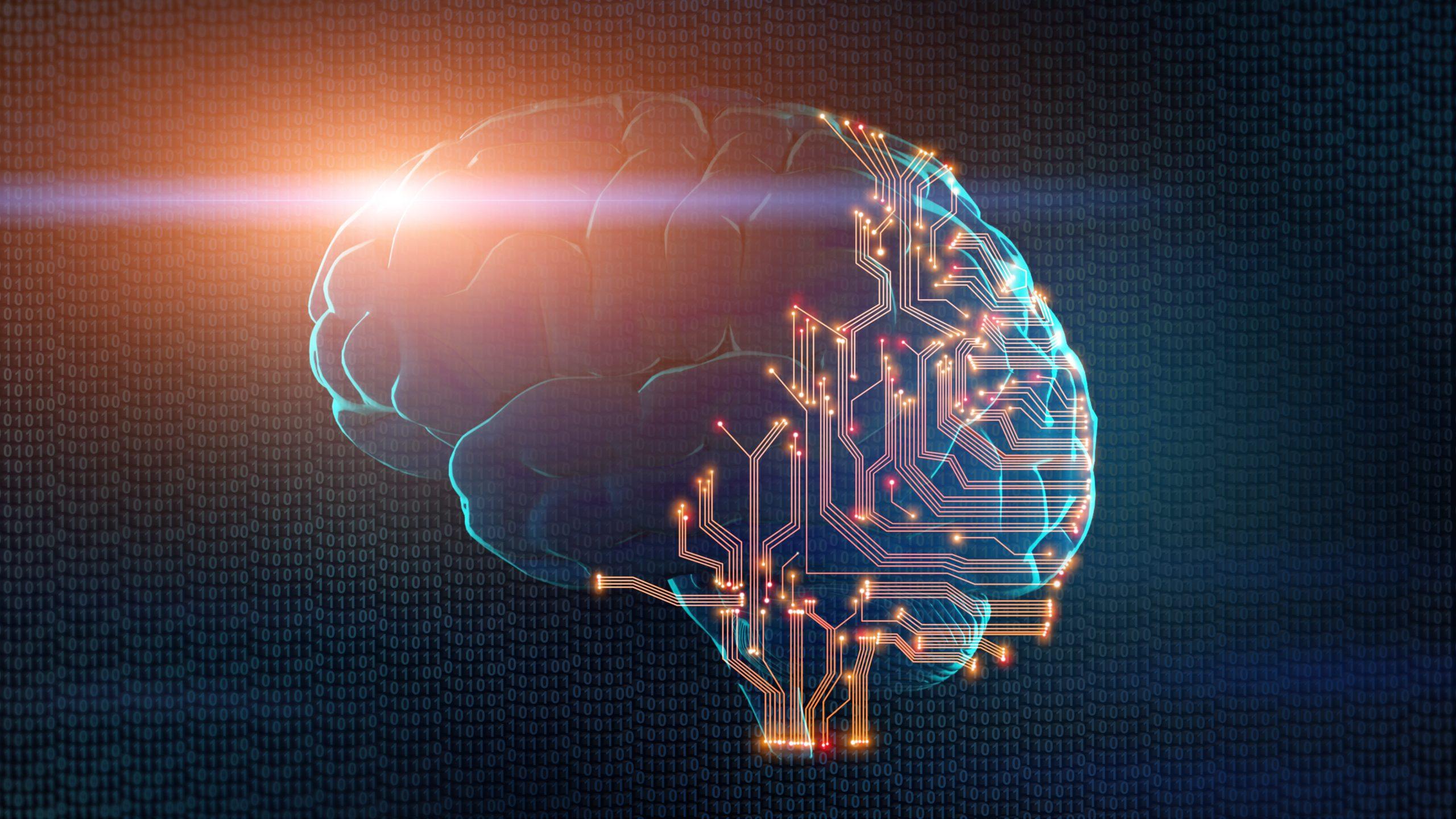 En hjerne som symboliserer teknologisk utvikling