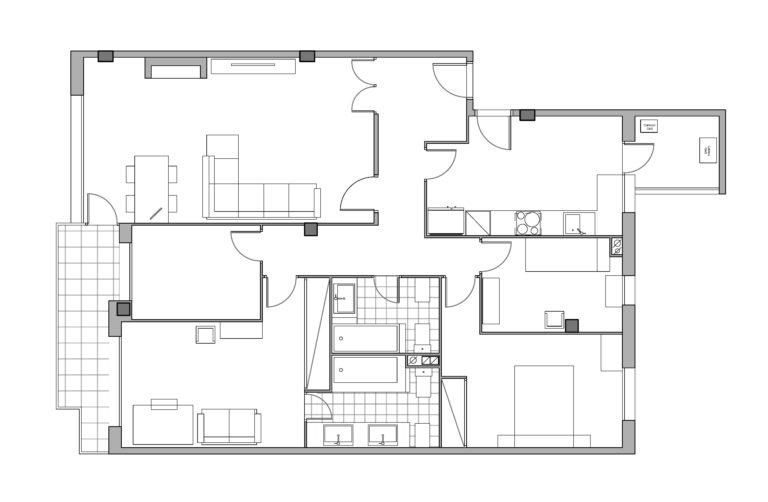 EstudioTinto-Diseño Proyectos de Arquitectura que emocionan - plano estado actual reforma integral piso en el Turó Park de Barcelona