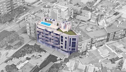 EstudioTInto - Diseño gestión inversión inmobiliaria - Vista de pájaro de promoción inmobiliaria Cornellà Barcelona