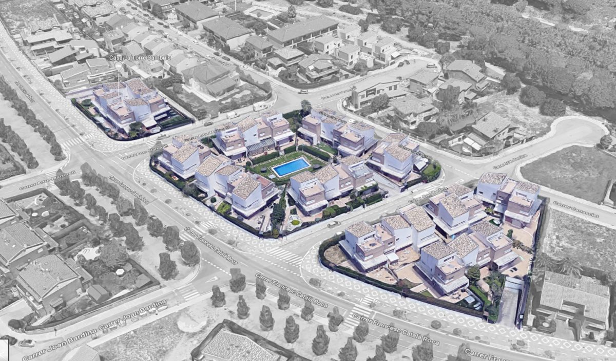 EstudioTInto - Diseño gestión inversión inmobiliaria - Vista de pájaro de promoción inmobiliaria Vilafortuny Camrbils