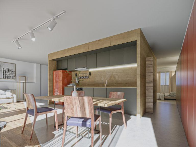 EstudioTinto-Diseño Proyectos de Arquitectura que emocionan - render cocina comedor proyecto caja de madera