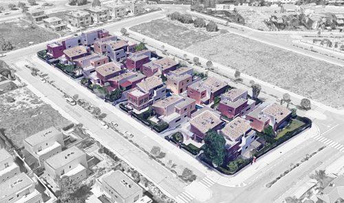 EstudioTInto - Diseño gestión inversión inmobiliaria - Vista de pájaro de promoción inmobiliaria Vilafortuny Cambrils