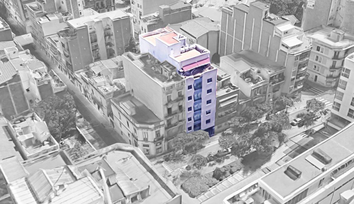 EstudioTInto - proyectos que emocionan - Vista de pájaro de edificiod de 13 pisos en Sant Marti barcelona