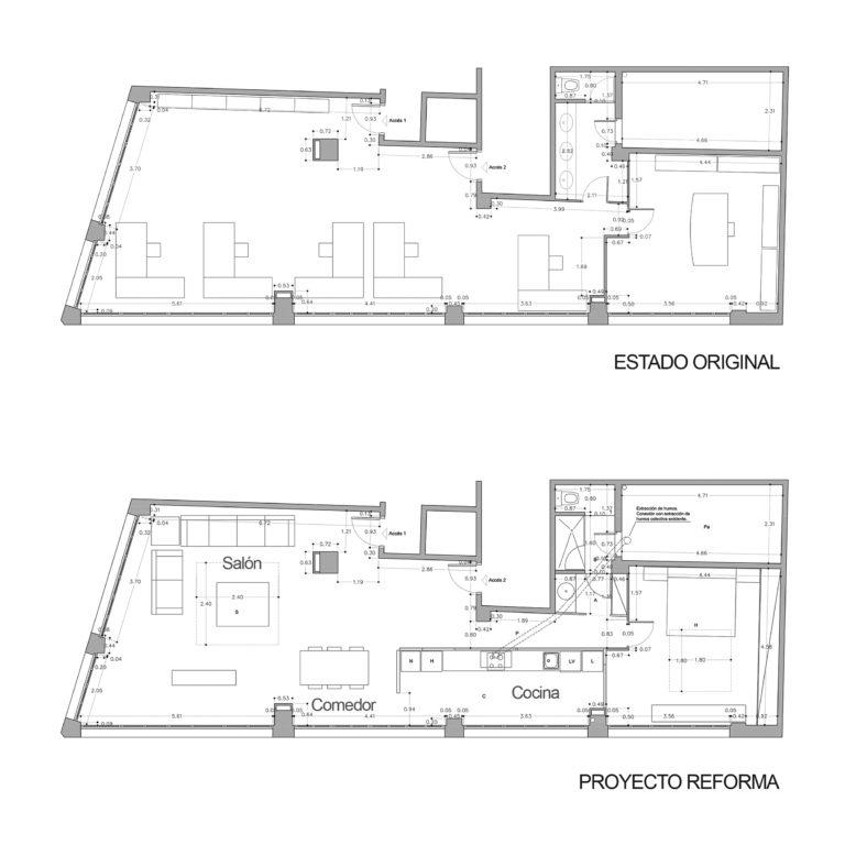 EstudioTInto - Diseño proyectos arquitectura - planos antes y ahora de reforma integral despacho en piso vivienda san Gervasio Barcelona