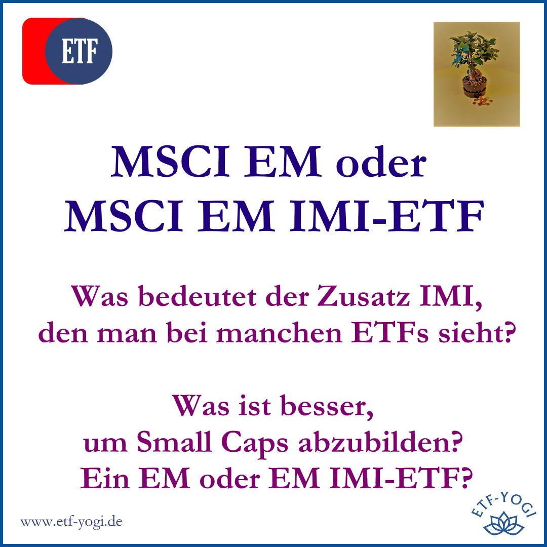 Kleinvieh macht viel Mist. Small Caps bzw. Nebenwerte sind wichtig fürs Portfolio. Ein IMI-ETF ist ein Anfang, aber reicht mir nicht.