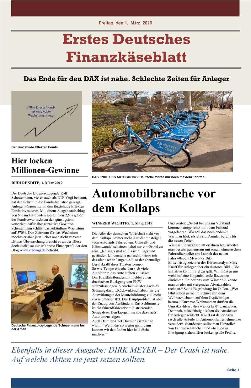 Erstes Deutsches Finanzkäseblatt - Finanzpornografie bzw. Investmentpornografie at its best.