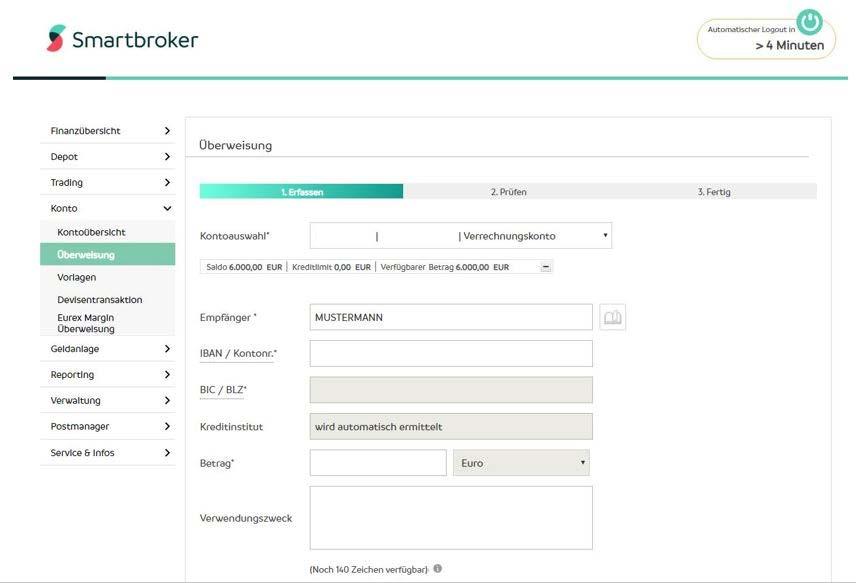 Screenshot 1: Smartbroker, ein neuer Discount Broker der Wall Street Capital AG mit Beziehung zu Fondsdisount