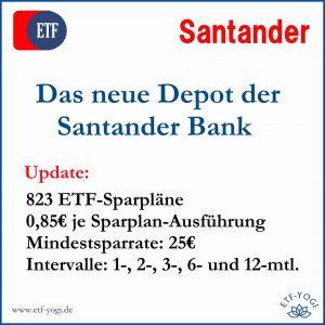 Santander-Depot: die ETF-Sparpläne des Wertpapierdepots