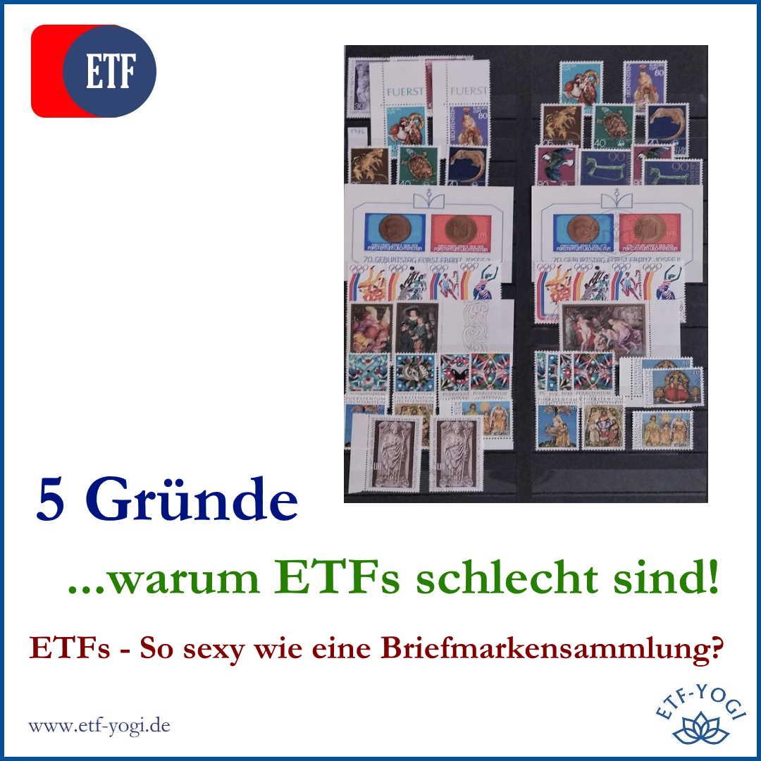 Warum ETFs schlecht sind? 5 Gründe: ETFs sind billig. ETFs sind schlank. ETFs sind einer wie der andere. ETFs sind nicht ansprechend. ETFs sind durchsichtig.