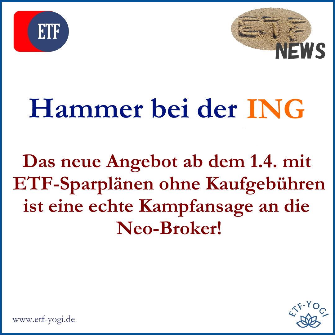 ING-Hammer: alle ETF-Sparpläne ohne Kaufgebühren