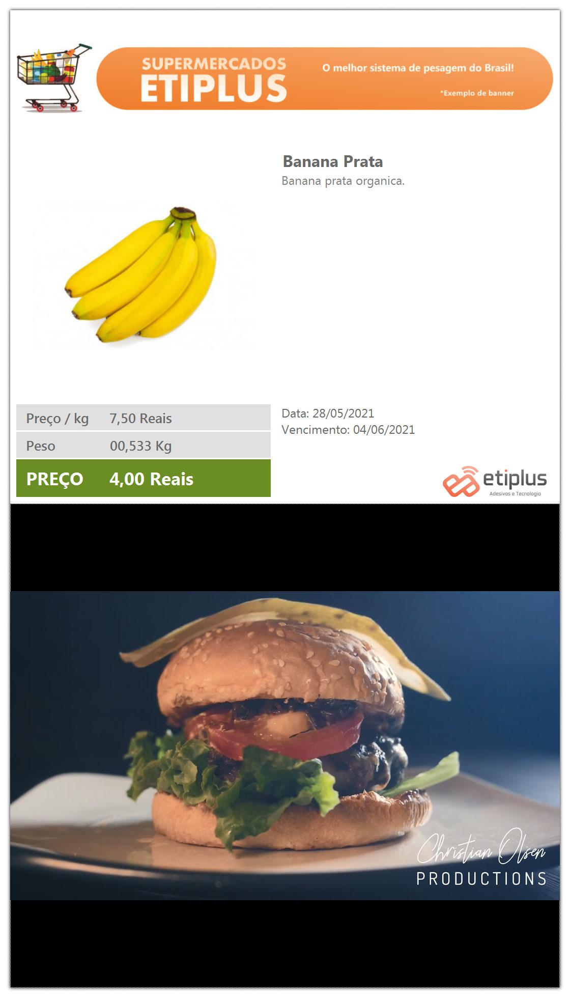 Tela do cliente da balança SCALE da Etiplus
