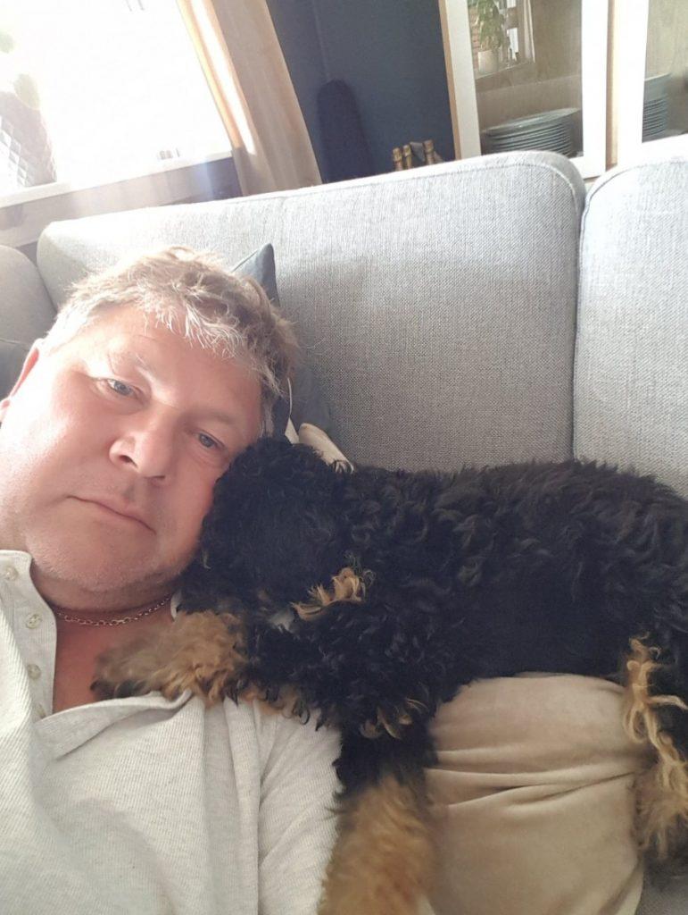 Valborg som er en mellompuddel valp liker å slappe av på sofaen etter turene med pappaen