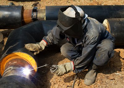 Worker   welder  repair   pipeline