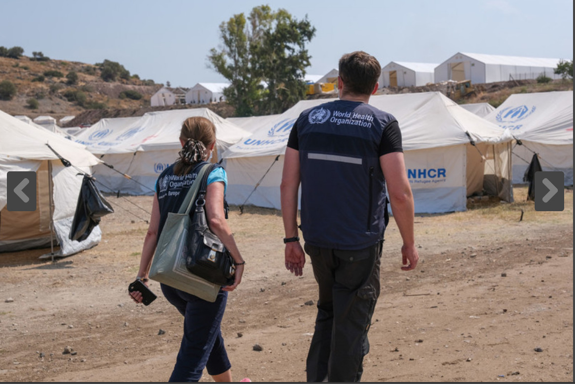 WHO deploys help to refugees and migrants in Lesvos's fire-burned camp in the midst of COVID19