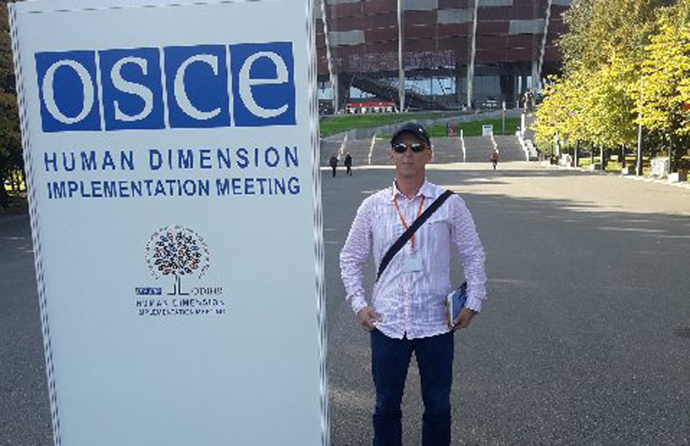 Mr Mocevic at OSCE fighting for his rights as a Serb in Croatia