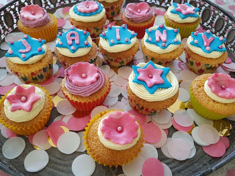 birthday party cupcakes: het eind resultaat