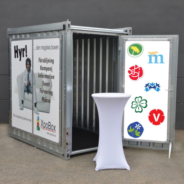 Mobil valstuga XpoBox, hyra, uthyrning, reklam, expo
