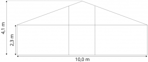 Skiss Tält 10 meter att hyra