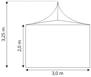 Skiss Tält 3x3 m att hyra, partytält