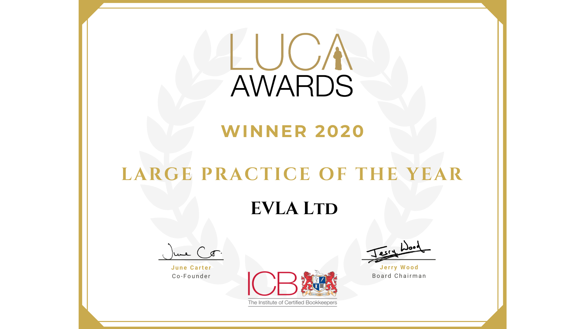 Large practice of the year 2020 certificate