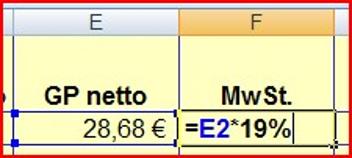 Prozentrechnung in Excel