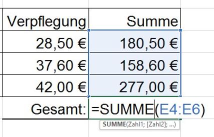 Automatische Summen-Funktion in Excel