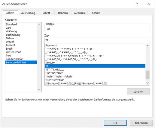Das Dialogfeld Zellen formatiern. Der angezeigte Formatcode zeigt von dem enthaltenen Datum nur den Tag zweistellig an.