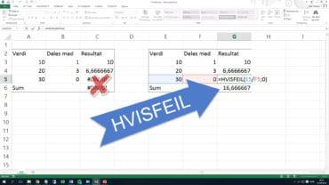 HvisFeil gir deg kontroll over #I/T og #DIV/0