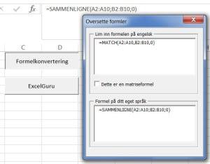 Excel 2013 funksjoner på Engelsk og Norsk