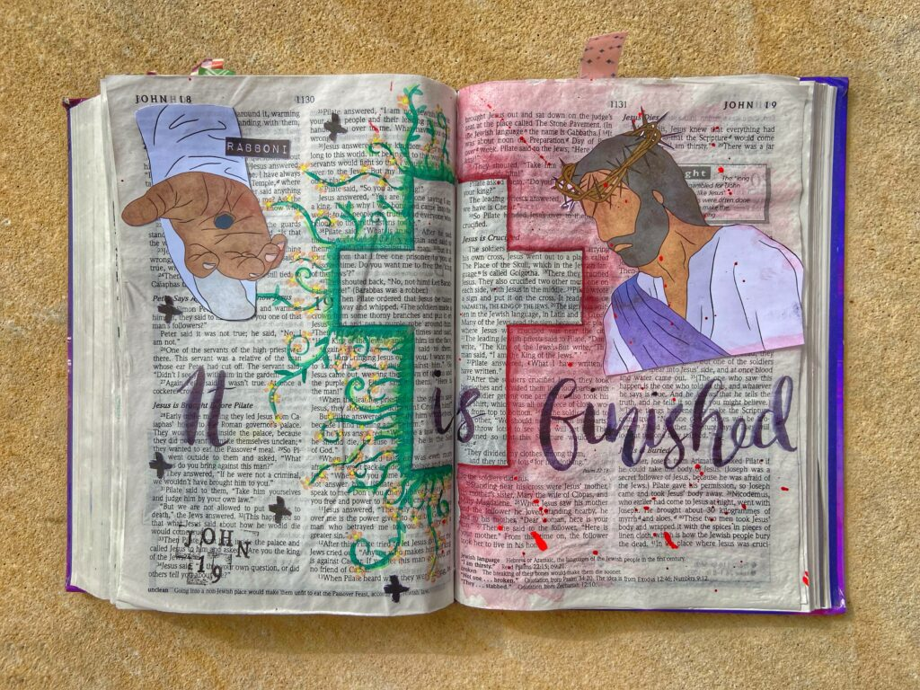 Good Friday Bible Journaling entry showing the cross, Jesus with a crown of thorns and Jesus' hand with the hole in.