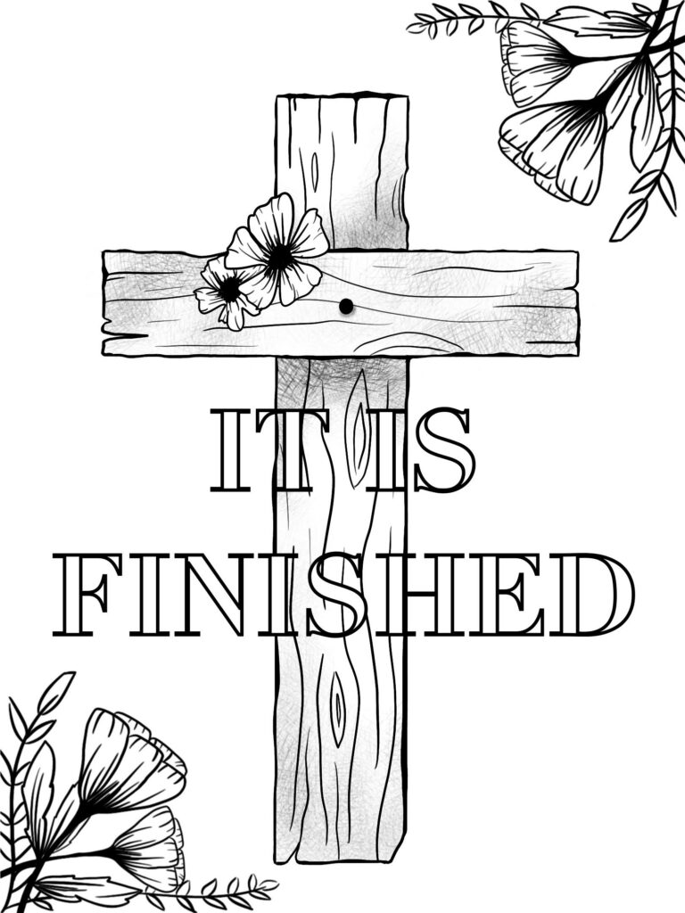 Cross colouring sheet with flowers for bible journaling.