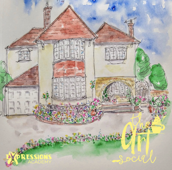 Watercolour house painting using black finer liner pen.