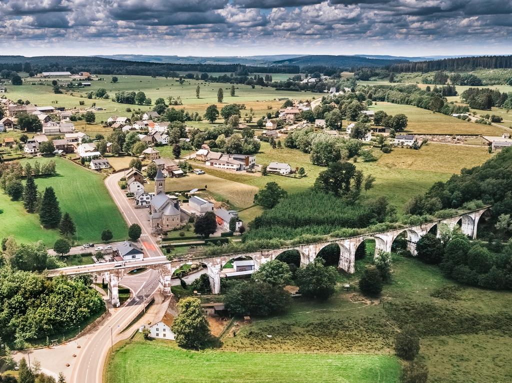 oostkantons Belgie spoorlijn dronefoto content creatie viaduct Freiherr von Korff