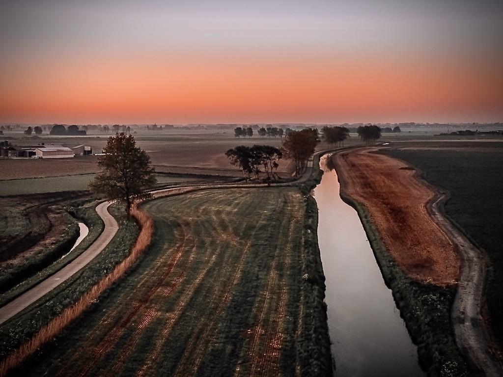 Middelkerke zonsopgang natuur dronefoto landschapsfotografie Schore