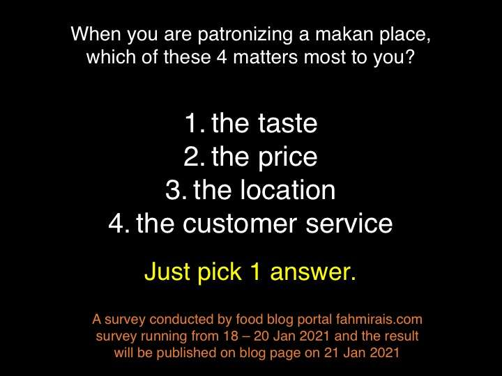 So which is the most important factor when dining out?