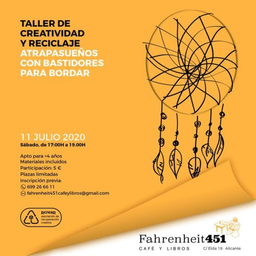 Taller de creatividad: Atrapasueños con materiales reciclados. @ Fahrenheit451 Café y Libros