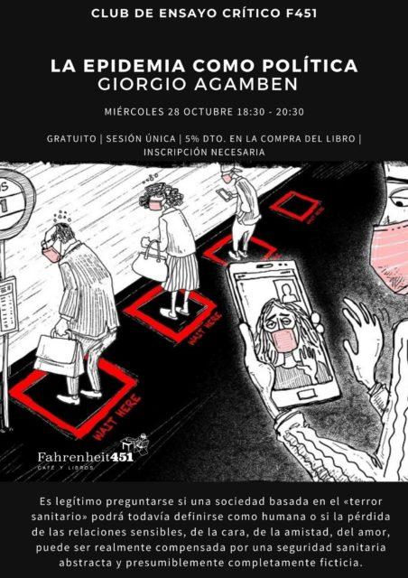 Club de Ensayo Crítico F451 -La epidemia como política de Giorgio Agamben - @ Fahrenheit451 Café y Libros